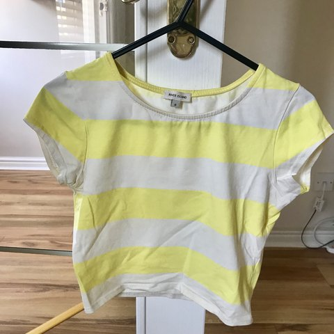dcd4e26bcf5246 Cropped t-shirt in yellow   white stripes from River Island. - Depop