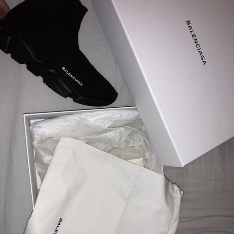 de86634ad8b7e all black Women s Balenciaga speed sock trainers size 7 worn - Depop