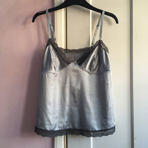 6e964c368491 Absolutely beautiful satin slip vest. Gorgeous silky silver - Depop