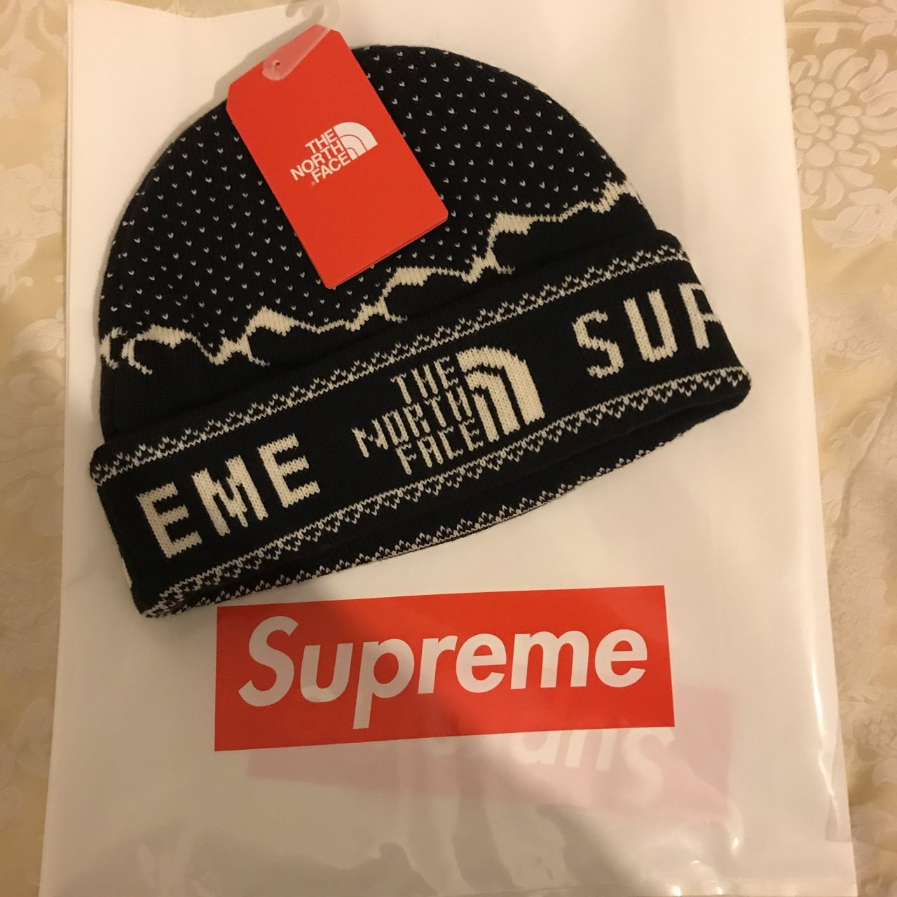 0779faec31db2 Supreme X TNF Black Beanie Deadstock SOLD OUT in SECONDS. X - Depop