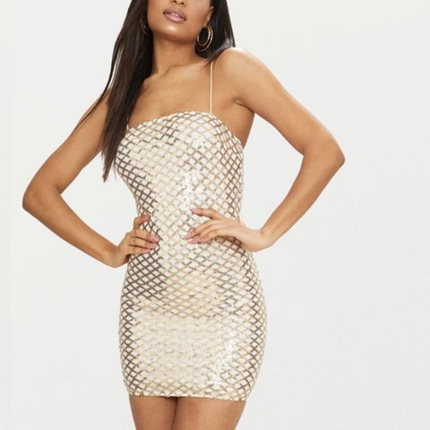 c06c03a04c45 @robynferguson. last month. Dundee, United Kingdom. PLT Gold Strappy Sequin  Straight Neck Bodycon Dress