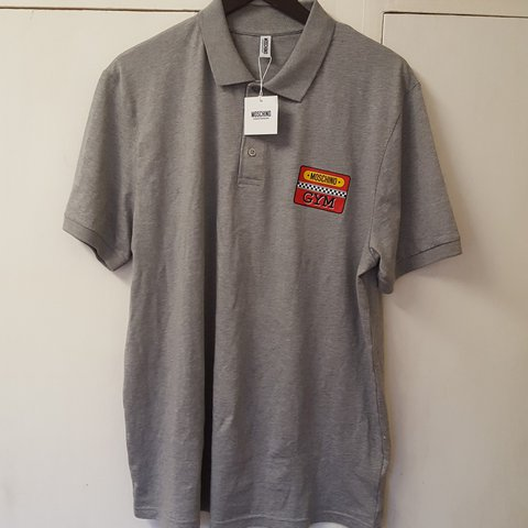 6bfec0a8 Moschino gym polo, grey, size XXL, but fits like a large, - Depop