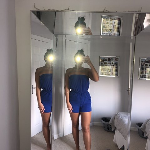 0748837e3f Forever 21 electric blue beach cover up playsuit. Worn dress - Depop