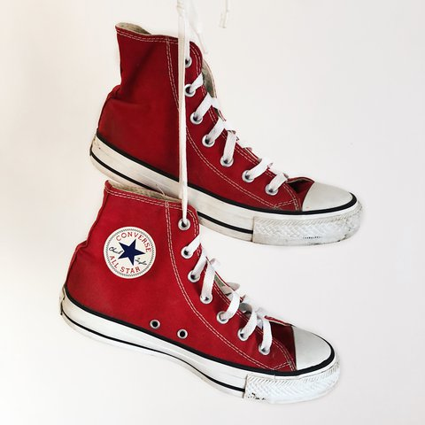 f57cc81cc4f1 Red converse high tops. Absolutely love them and go with A 6 - Depop