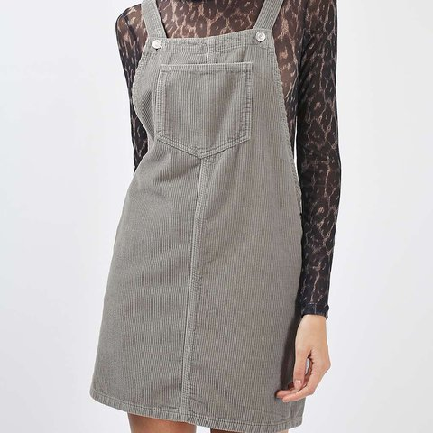 bbabf7dbea7 Topshop cord moto grey pinafore dress in size 10. Would fit - Depop