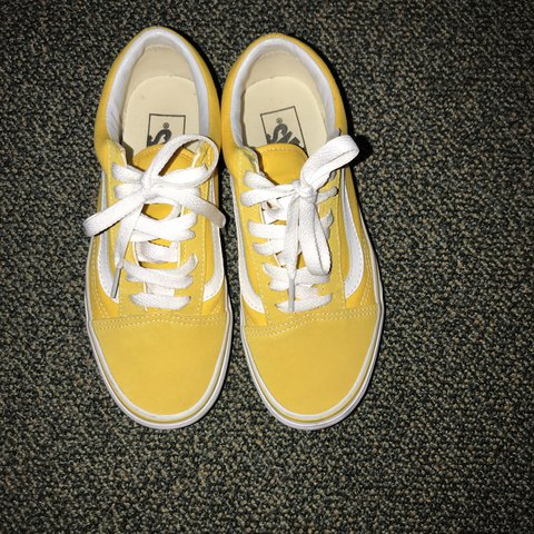 6a7332e0fe2e Yellow old school vans. Size 4.5 men   6 women. These are in - Depop