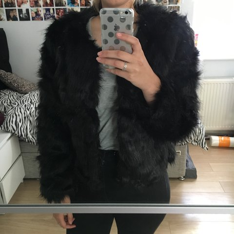 a45c6a5372 Black fluffy faux fur jacket. Brand new. Perfect for winter. - Depop
