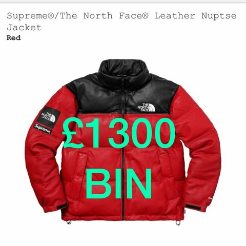 bcfa956eab BNWT Supreme x TNF (The North Face) Leather Nuptse     sold - Depop