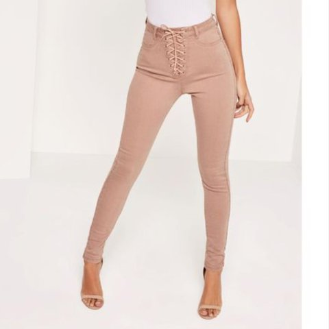 Stunning nude lace up vice skinny jeans from Misguided in 8 - Depop fb21002a9