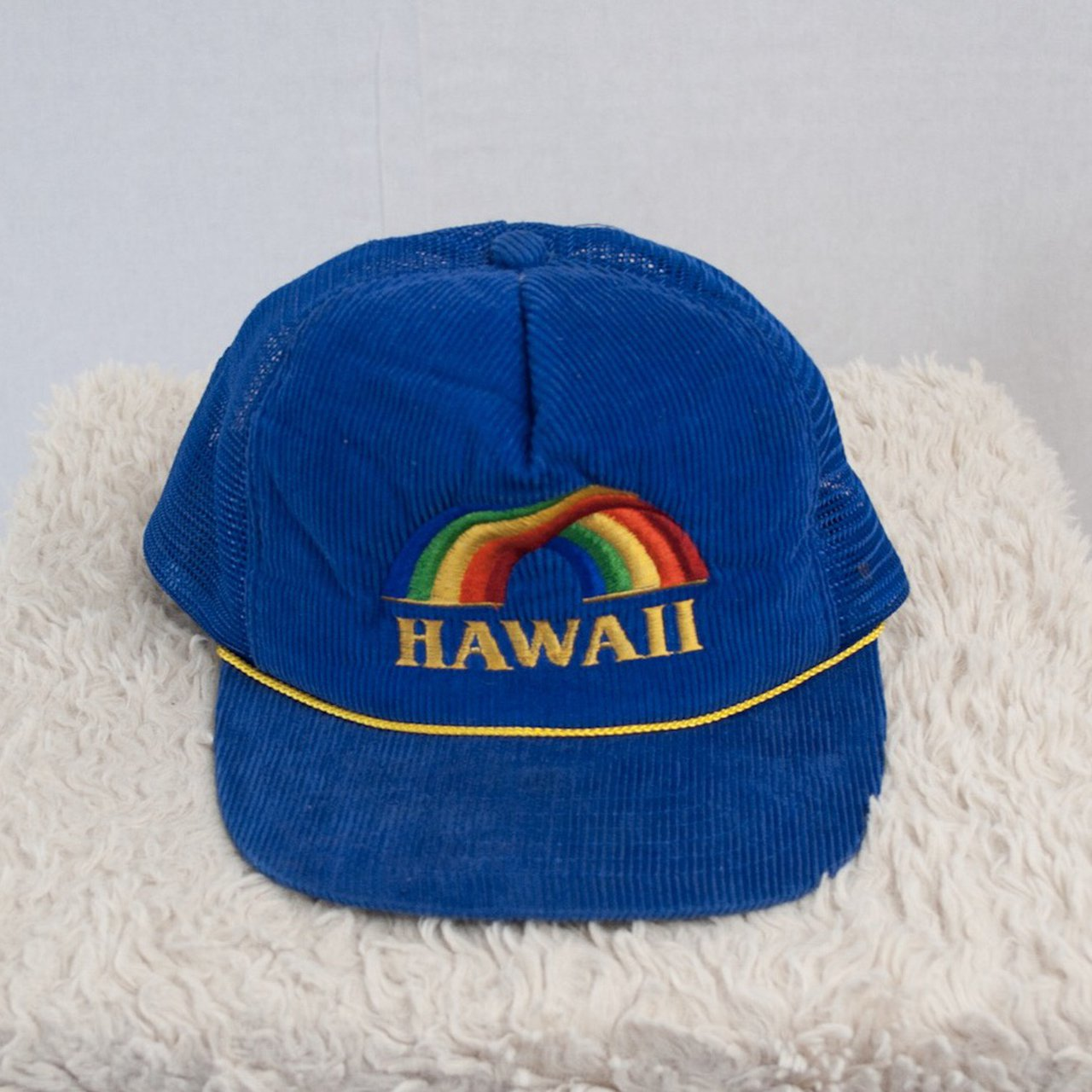 39dbbabe051 Vintage blue corduroy rainbow embroidered Hawaii trucker hat - Depop