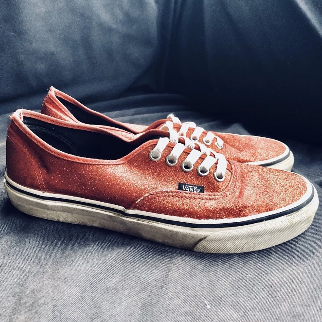 Women s Size 7 red glittery Vans trainers. Only been worn a - Depop e88c2f4cd
