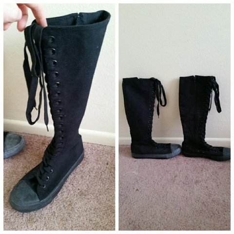 055a662801ce Alpha black (Converse All Star knock off) boots. They reach - Depop