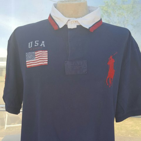 1c2d8c802 @bourbonbeaches. 2 years ago. Wade, North Carolina, United States. 🐎Vintage  90s USA Blue #3 Polo Horse Crest Rugby Shirt XXL Rare USA Ralph Lauren