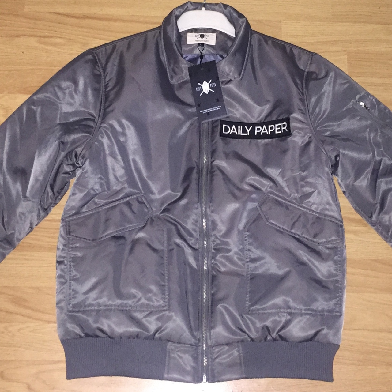 30971f0bf GREY DAILY PAPER FLIGHT BOMBER JACKET • LARGE • NEW ...