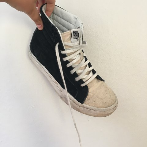 cda0fb8c65 Black and cream canvas sk8 hi vans. Black part is suede and - Depop