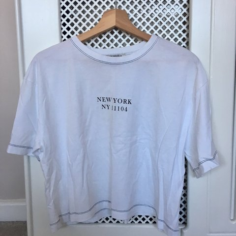 6af953ad Zara trafaluc SS18 New York White tee with black contrast a - Depop