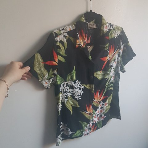 634814fb Black Hawaiian shirt with red, orange, and green floral Real - Depop