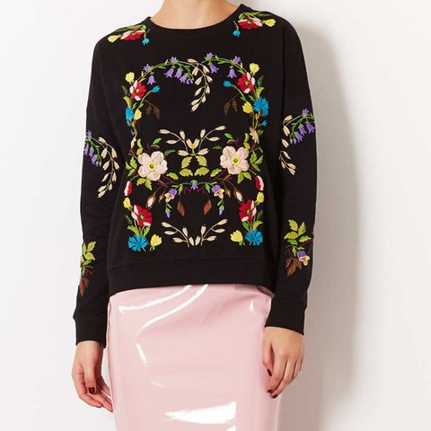 9788375f5 Topshop black floral embroidered sweater, worn a few times a - Depop