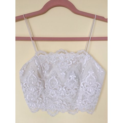 1d4b265a233df Topshop white lace bralet   crop top. Size 8. Perfect no in - Depop