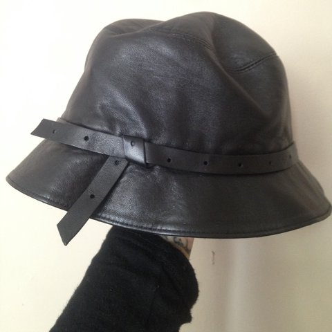 ACNE Studios black genuine leather bucket hat. Excellent - Depop 7d78df99756a