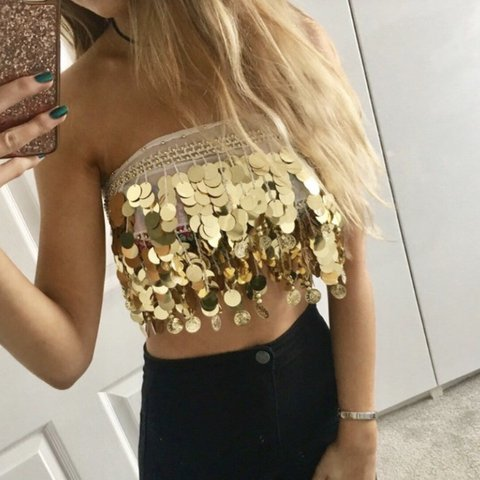 d50d3e350bf955 RESERVED • Gold sequin coin bra crop top only worn once • - Depop