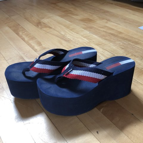 adc57ef5732c early 2000 s Tommy Hilfiger platform sandals !! No size but - Depop