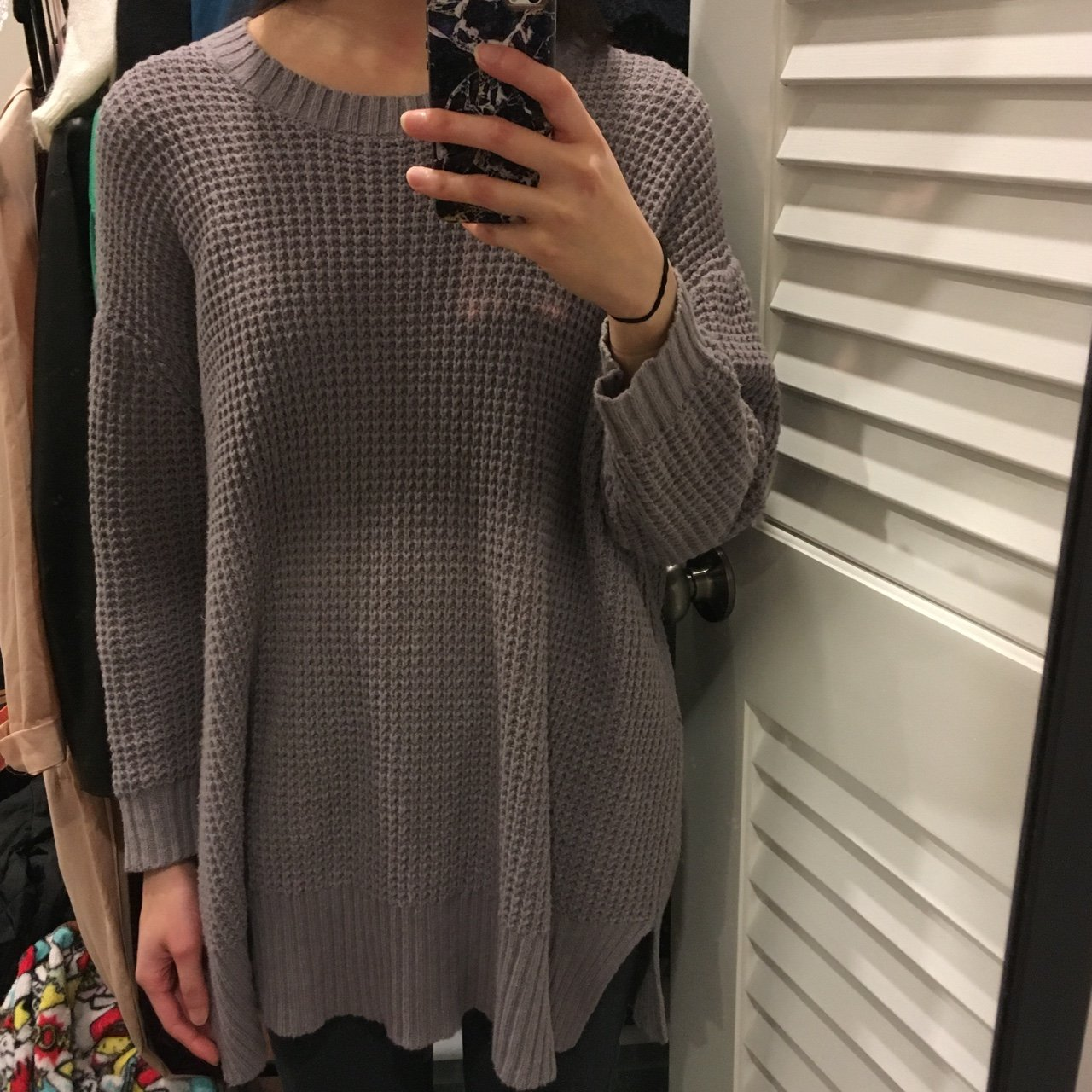 Zara gray waffle knit 3 4 sleeve sweater with side slits. is - Depop e2b5c1efe