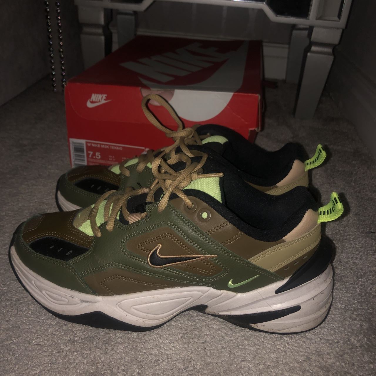 san francisco 100% quality quite nice Khaki and neon green Nike m2k tekno trainers size... - Depop