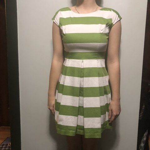 c75c0cbff0ee Super cute pinup style green and white striped dress from on - Depop