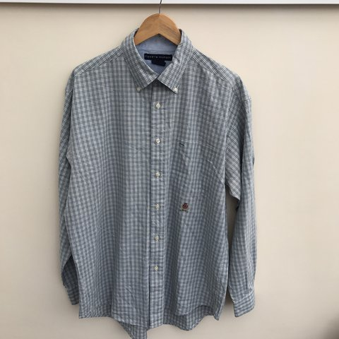 a446f834d6 @yourinternetcafe. last year. Swansea, United Kingdom. Smart casual Vintage  Tommy Hilfiger blue and white shirt ...