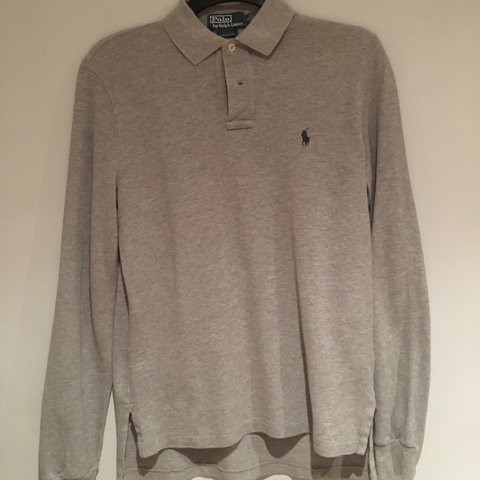 483628f5 @carolinewren. 2 years ago. Watford, United Kingdom. Light grey Ralph  Lauren long sleeve custom fit polo shirt ...