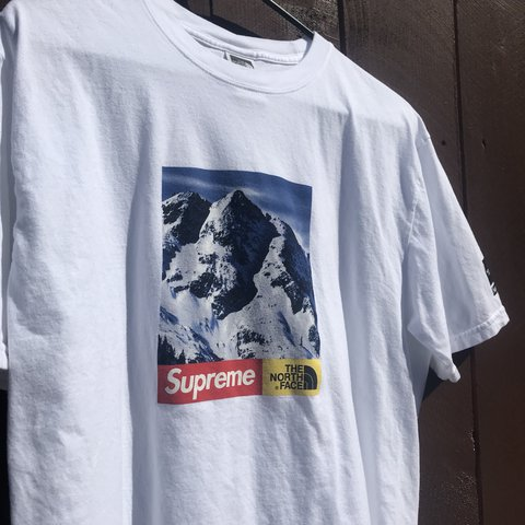 b984a8537b5222 Supreme x The North Face mountain tee on white. Size Large - Depop