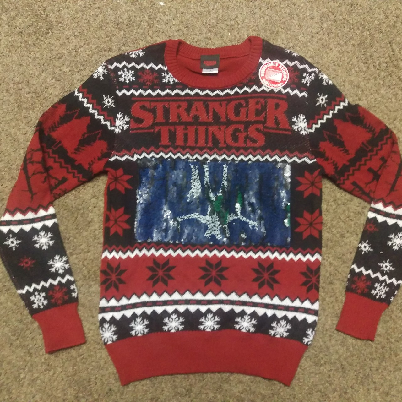 Stranger Things Christmas Sweater.Stranger Things Ugly Xmas Sweater Brand New Size Depop