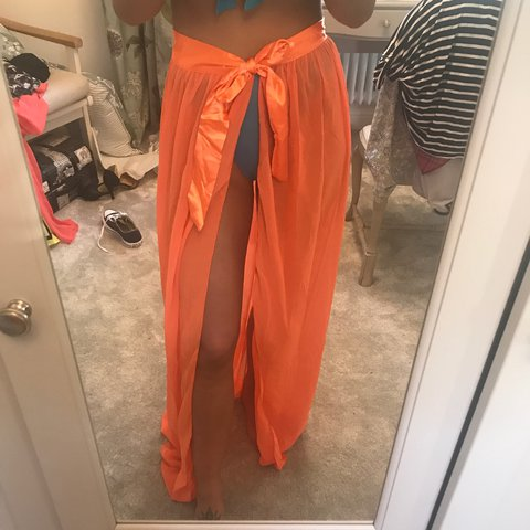 e5a939b85c Orange wrap sarong skirt with slit down the side which ties - Depop