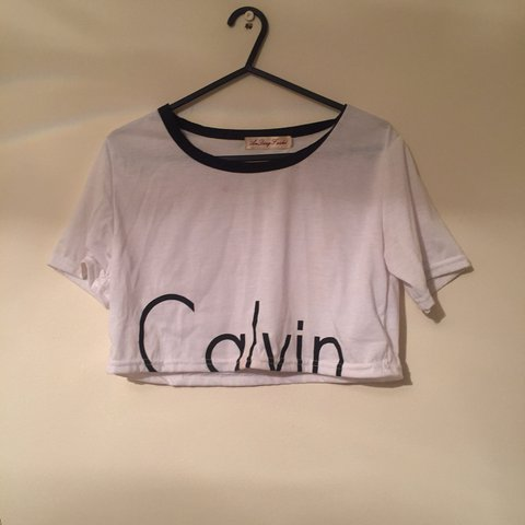 5d436adaff8 Cropped Calvin Klein CK tshirt. 9/10 condition. Worn once. - Depop