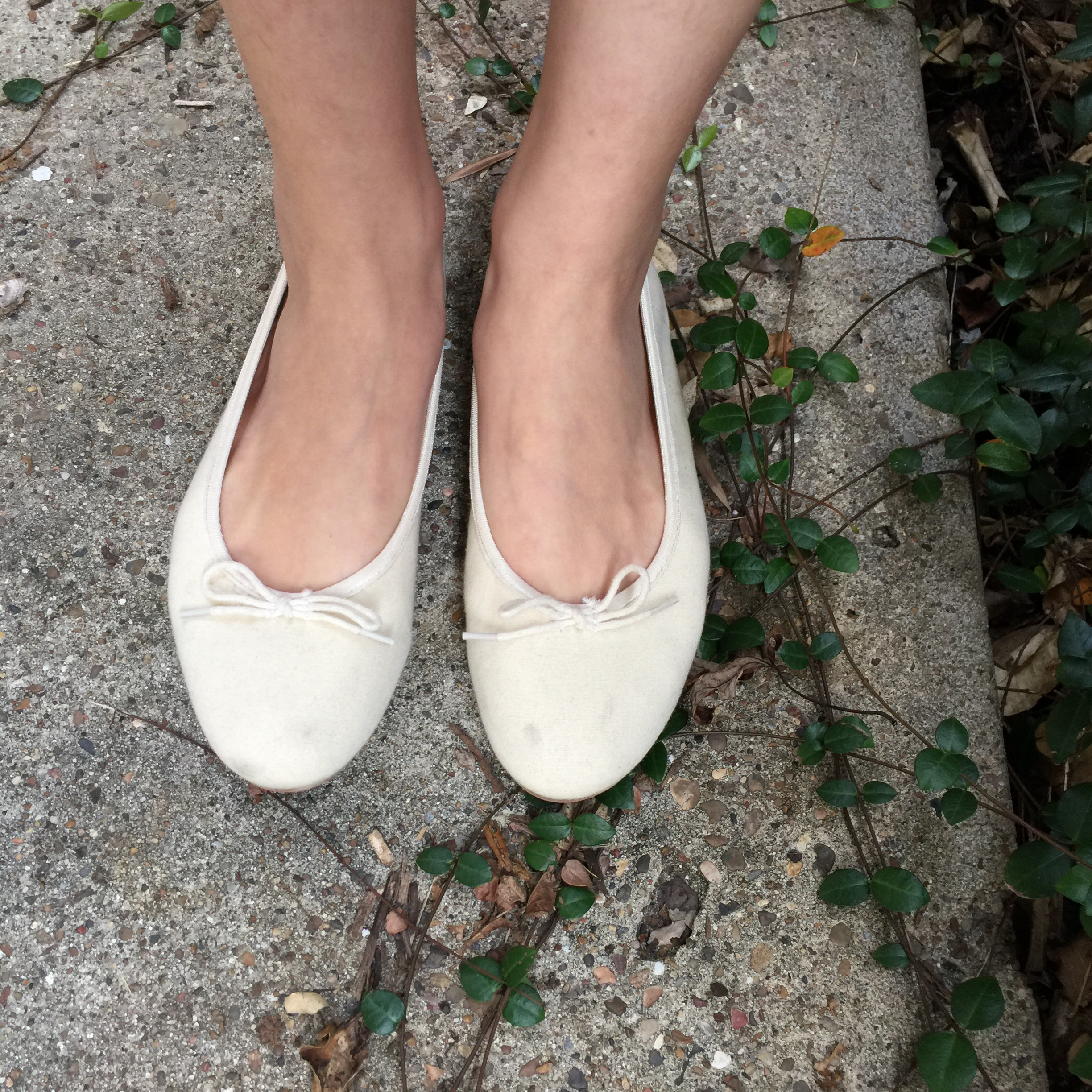 Authentic Muji soft white ballet flats