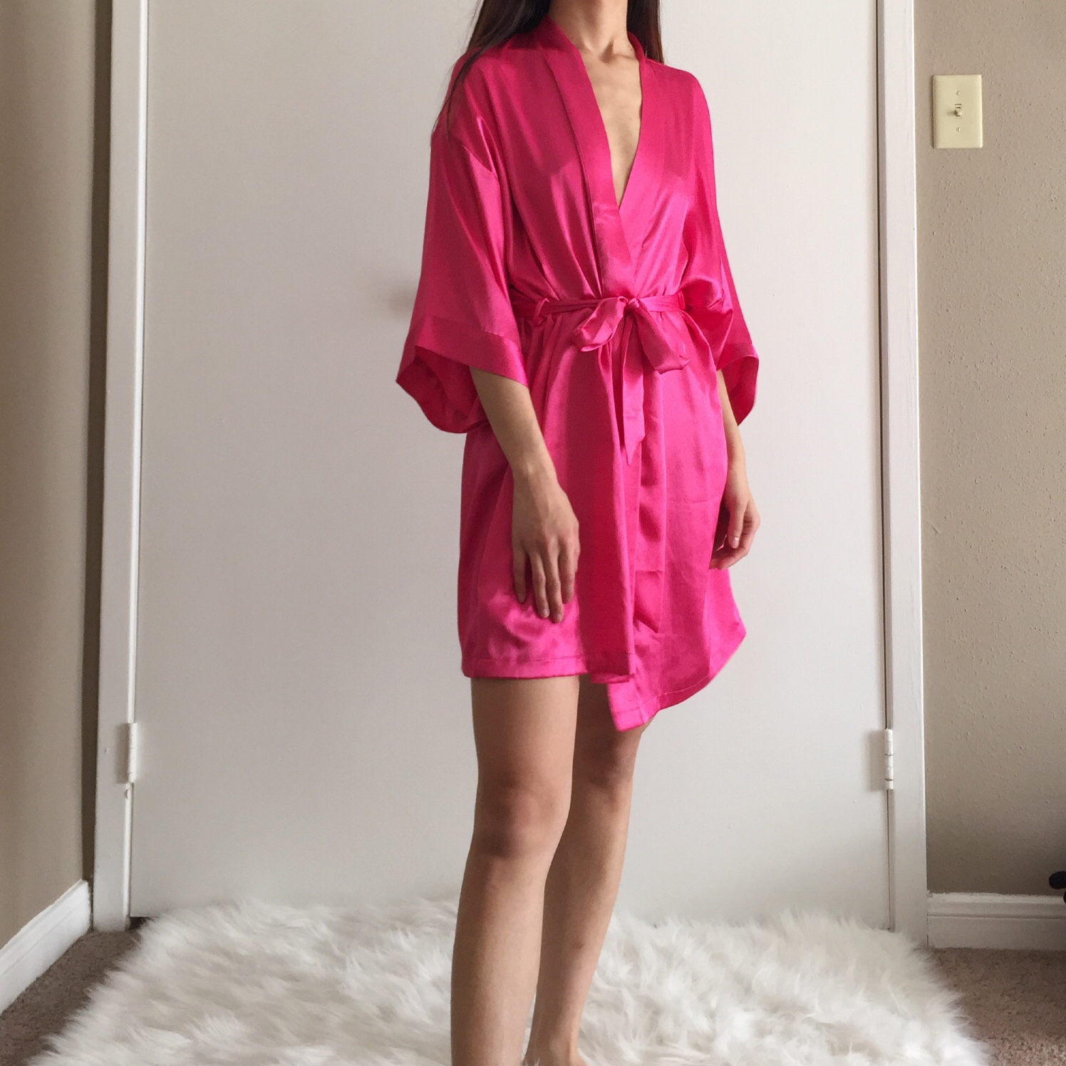 latest fashion classcic entire collection Victoria's Secret Hot pink satin robe. Size: S/M.... - Depop