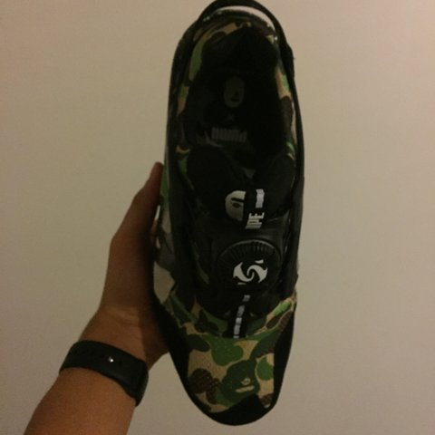 7f5d884ab19b Puma x Bape - Disc blaze - curds and Whey (green camo) UK 8. - Depop
