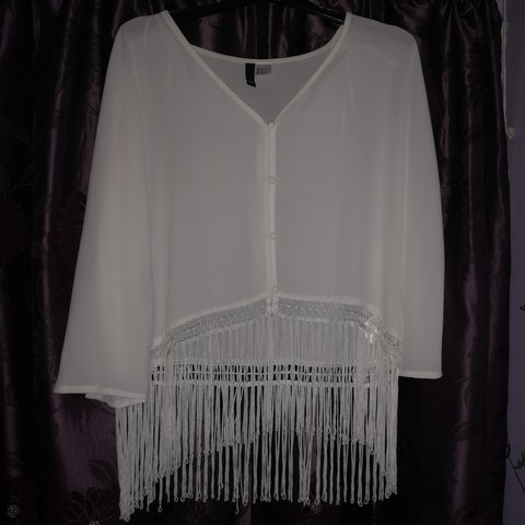 7bf2b7f29e H M white chiffon v cut fringe blouse with buttons. Brought - Depop