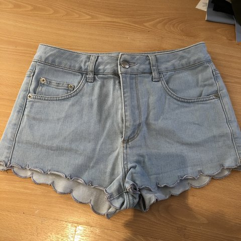 50630225d4 @rosestrutt. last month. Ongar, United Kingdom. Topshop scalloped denim  jean shorts.