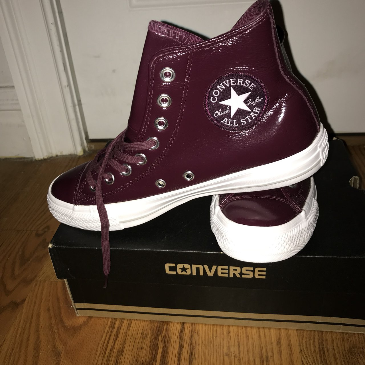 0ef9962caaa Never worn burgundy leather high-top Converse. So cute and - Depop