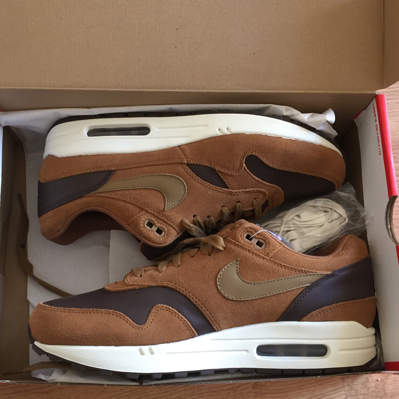Nike Air Max 1 Premium Leather Ale BrownGolden Depop