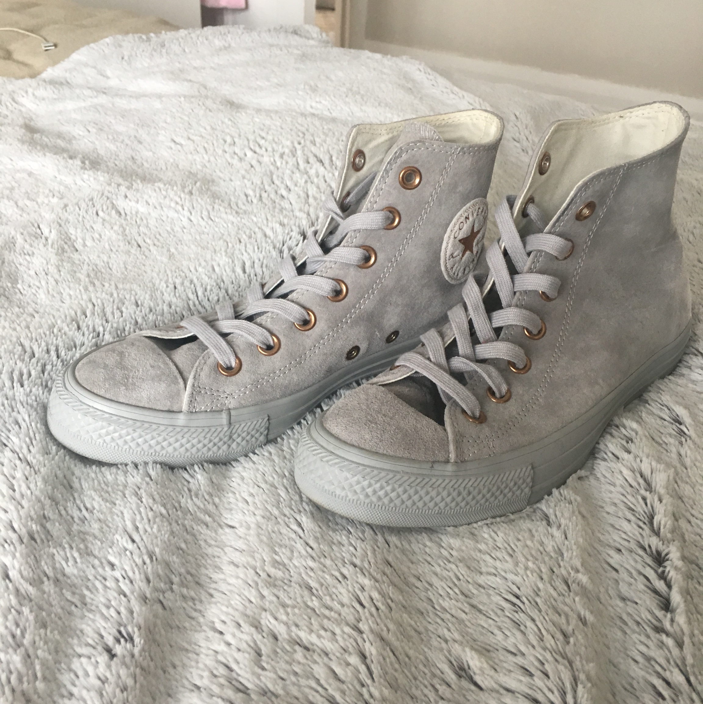 Rose gold and grey suede converse high