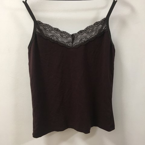f523a7e021d Wealth of nations brown  burgundy lace top size 8 Great me - Depop