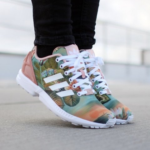1925ae3f12d20 Adidas ZX Flux — Dusty Pink Lotus Sunset Size 7W Good - Depop