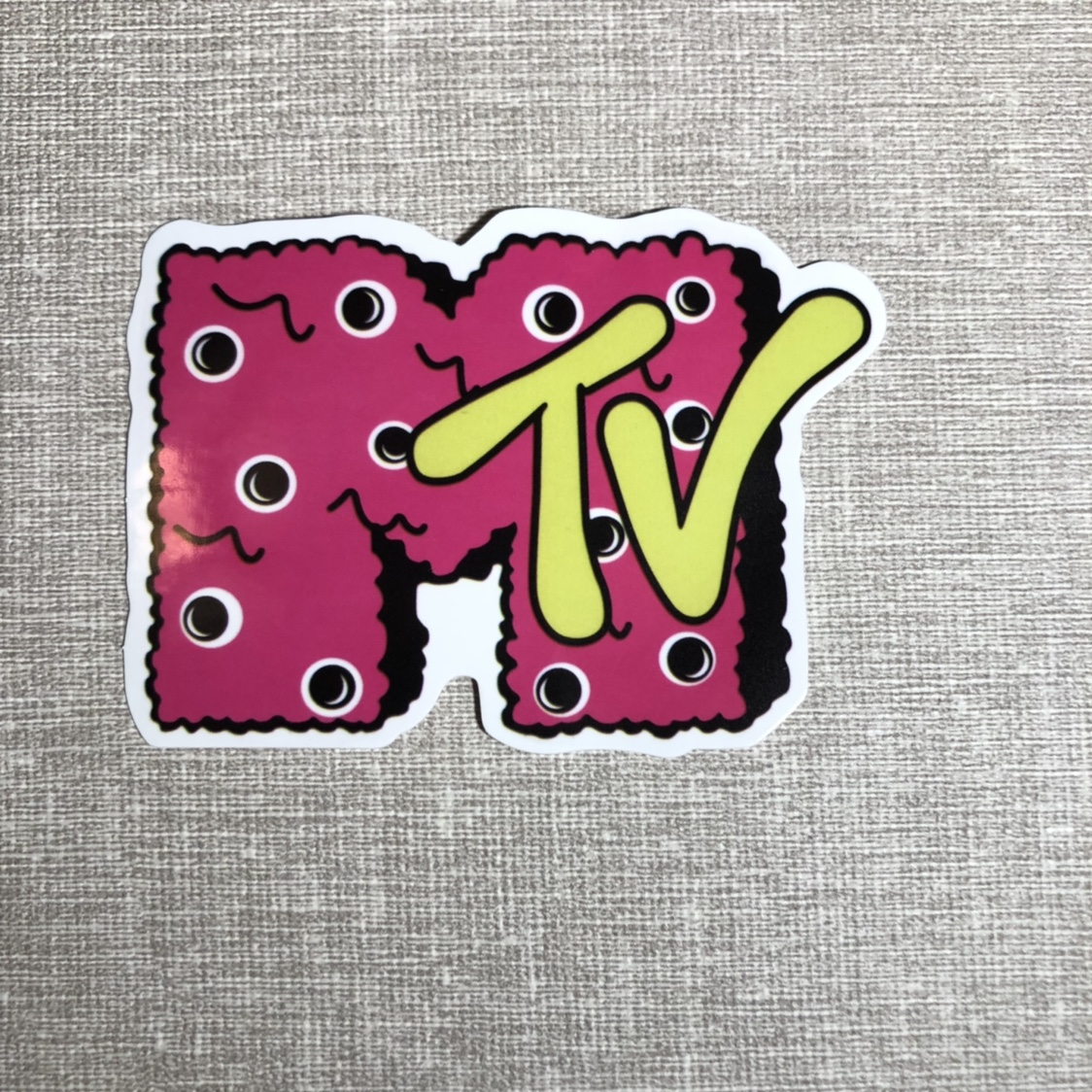 """Fuzzy"""" Pink & Yellow MTV sticker❣️ This is such a    - Depop"""