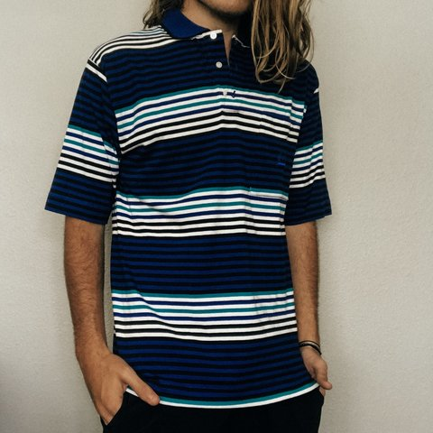 3652caafc @maverickocean. 4 months ago. Jupiter, United States. Men's authentic vintage  Christian Dior blue and white stripped polo shirt. Size Medium
