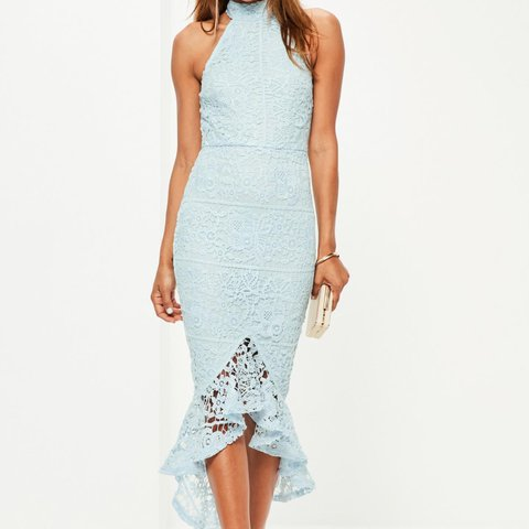 5e0dd61af179 @louisehhx. 2 years ago. Downham, United Kingdom. Missguided Powder Blue  Lace High Neck Fishtail Midi Dress ...