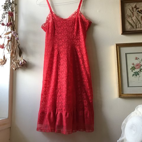 VINTAGE red lace nightgown lingerie dress. Brand is Banner - Depop 31480ddac