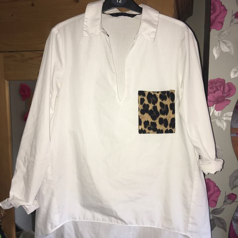 6101d01f185a3 Zara white shirt featuring leopard print pocket! Lovely in - Depop